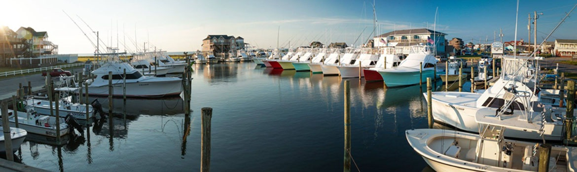 Hatteras Harbor Marina at dusk